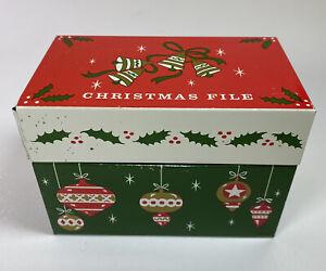 Recipe Box Tin Metal Christmas Vintage Ohio Art Made in USA Recipes File Red