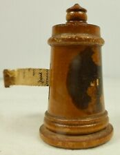 Antique Treen Ware Tape Measure ~ Souvenir Of Champlain Memorial Lighthouse N.Y.