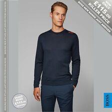 HUGO BOSS Open Blue Golf Sweater in Merino Virgin Wool