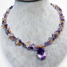 "Iolite Amethyst Sunstone Moonstone 17""Cluster Necklace With 18K Solid Gold Clasp"
