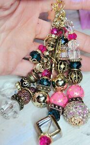 Custom handbag jewelry CHARM purse Keychain crystal sparkle bead MK,COACH,DB
