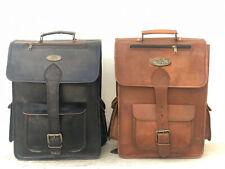 Men's Brown/Black Leather Bag Backpack Laptop Rucksack Vintage Laptop Travel