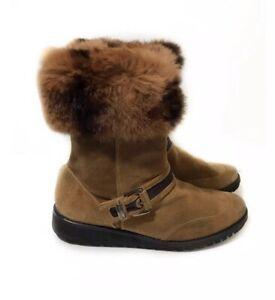 Stuart Weitzman 8 Brown Suede Winter Boots Rabbit Fur Trim Buckle $550