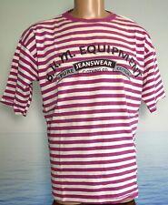 Vtg 1993 BUM Equipment T Shirt USA Short Sleeve M Striped Purple White Mens 90s