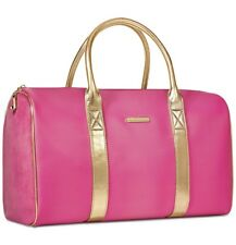 JUICY COUTURE pink gold faux leather duffle travel overnight gym sport bag NEW