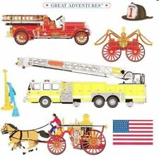 6 X 6 Vintage Fire Engines Yellow Horse Drawn USA Grossman Stickers
