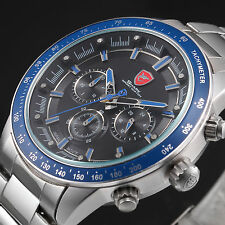 SHARK Mens Steel Waterproof Analog Sport Wrist Quartz Watch Fashion Blue&Black