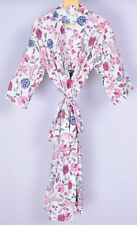 Floral Print Indian Cotton Block Printed Nightgown Sleepwear Dressing Gown Robe
