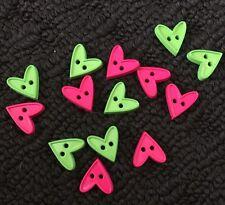 14 X Small Heart Plastic Buttons - Australian Supplier