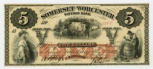 1863/2 $5 Somerset and Worcester Savings Bank - Salisbury, MARYLAND Note AU/UNC