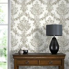 Boutique Opal Damask Metallic White And Gold Heavyweight Vinyl Wallpaper