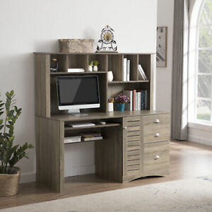 Home Office Desk Computer Desk with Storage and Shelf Functional Writing Desk