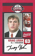 KRAIG URBIK 2009 SENIOR BOWL WISCONSIN BADGERS ROOKIE CARD MIAMI DOLPHINS BILLS