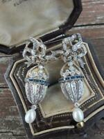 Art Deco Stunning 925 Silver Shiny CZ & Blue Sapphire Pearl Bow Dangle Earrings