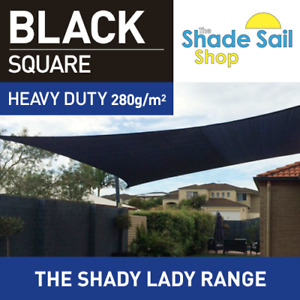 Square BLACK 4.5m X 4.5 m Shade Sail Sun Heavy Duty 280GSM BLACK 4.5X4.5M 95% UV