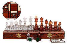 Jeu d'échecs décoratifs orange 41 cm / 16.2 dans stuning échiquier et pièces uniques!