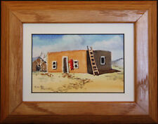 Southwestern Adobe with Barn and Ladder, Miniature Painting by Vivian Ashcraft