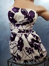 Snap Brand Purple & White Strapless Stretch Evening Party Picnic Women's Dress 7