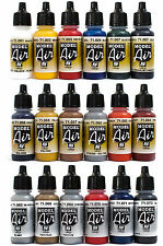 Vallejo Airbrush Farben Set 18x 17ml *Basis - Bunt - Metallic Airbrushfarben