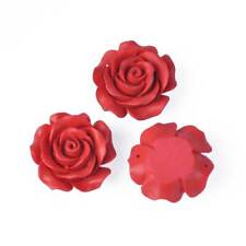 5pcs Rose Red Flower Carved Cinnabar Craft Beads Flat Back For Jewellery Making