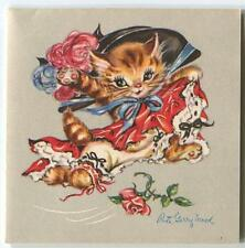 VINTAGE ORANGE TABBY CAT DANCING COSTUME HAT ROSE CABARET COSTUME ART CARD PRINT