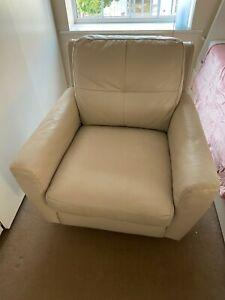 2 x Modern Rotatable Armchair Cream Leather