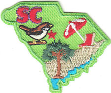 """SC"" - SOUTH CAROLINA STATE SHAPE - Iron On Embroidered Applique Patch/South"