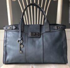 FOSSIL Vintage Reissue Weekender Heirloom Blue Leather Satchel Overnight Bag XL