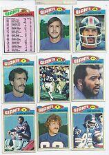 Lot of 9 Diff 1977 Topps NY NEW YORK GIANTS #2 Team Football Cards VG/EX NFL