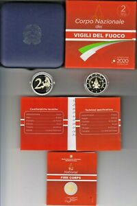 Italia Italien 2 € euro Feuerwehr Firebrigade Vigili del Fuoco pp mit etui 2020