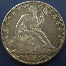 1855 O Seated Liberty Silver Half Dollar 50C - Toned AU