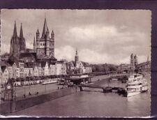 Gelaufene Ansichtskarte Köln Rheinpanorama. Eisenbahn europa:11403