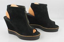 Sandalias Zapatos De Salón Tacón De Cuña DEENA et OZZY Ante Negro T 39