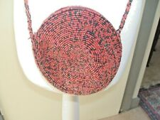 Vintage Dents Small Soft Cranberry Beaded Round Cross Body Bag