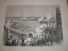 Prince Edward HMY Serapis arrives Malta harbour 1876 old print ref V