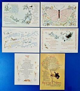 6 Art Verse Postcards Quartet of the Seasons by Irene Wellington Marie Angel OK4