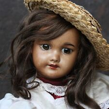 "ANTIQUE JUMEAU SFBJ MULATTO PORCELAIN DOLL c1900 13.8"" VERY GOOD CONDITION"