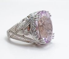 Superb 14K White Gold Filigree Diamond 14ct Kunzite Gemstone Ring