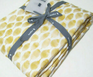 West Elm Straw Yellow Organic Stamped Dot Line King Duvet Cover Two King Shams