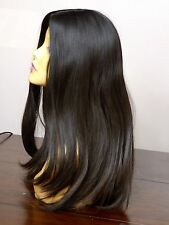 GORGEOUS EUROPEAN HUMAN HAIR WIG DARK BROWN MEDIUM/LARGE 2/4 VIRGIN PONYTAIL