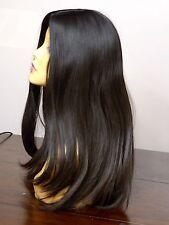 GORGEOUS EUROPEAN HUMAN HAIR WIG DARK BROWN MEDIUM/LARGE 2/4 VIRGIN PONYTAIL