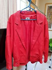Ladies Red Genuine  Leather Jacket Size M