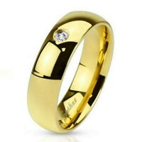 Ring mit Kristall Gold Edelstahl Damenring Herrenring Ehe Verlobung Goldring