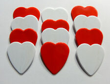 12pk Solid Red & White Heart Shaped Guitar Picks - Heavy gauge - Blank