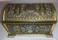 Vintage Tin Chest / Box Teleflora Collection Textured w/ Angels West Germany