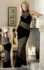 CC Langes Samt Abendkleid ZAZA Transparent Glanz Kleid schwarz silber M 40 42