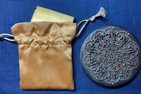 Lot 2 Vintage Compacts Silver Jeweled & Dual Gold Art Deco Powder Mirror Vanity