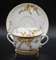Chas Field Haviland CFH Limoges Yellow Irises & Gold Covered Bouillon Cup