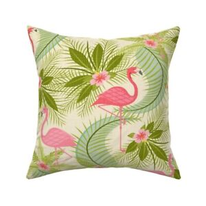 Tropical Pink Flamingos Throw Pillow Cover w Optional Insert by Roostery