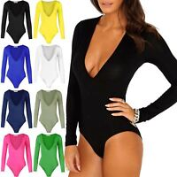 Ladies Deep V Plunge Neck Womens Stretch Long Sleeve Jersey Leotard Bodysuit Top